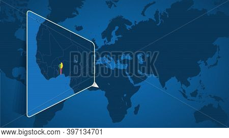 Location Of Benin On The World Map With Enlarged Map Of Benin With Flag. Geographical Vector Templat