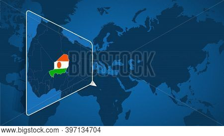 Location Of Niger On The World Map With Enlarged Map Of Niger With Flag. Geographical Vector Templat