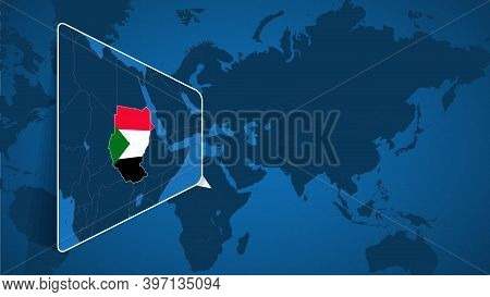 Location Of Sudan On The World Map With Enlarged Map Of Sudan With Flag. Geographical Vector Templat