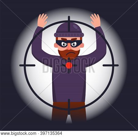 The Police Are Holding A Robber Who Raised His Hands Up. To Catch A Robber At The Crime Scene. Flat