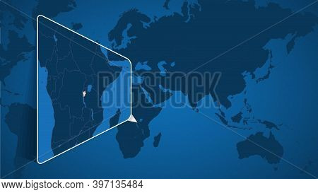 Location Of Burundi On The World Map With Enlarged Map Of Burundi With Flag. Geographical Vector Tem