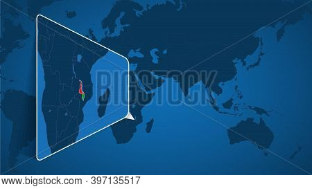 Location Of Malawi On The World Map With Enlarged Map Of Malawi With Flag. Geographical Vector Templ