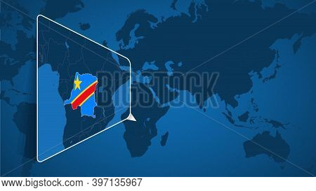 Location Of Dr Congo On The World Map With Enlarged Map Of Dr Congo With Flag. Geographical Vector T