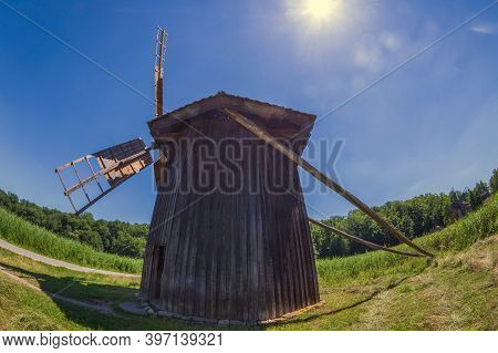 Old Historic Windmill Specific For Village Bestepe, Tulcea Country. Located At The Museum Of Traditi
