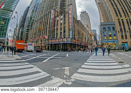 New York, Usa - March 6, 2020: Radio City Music Hall, At 1260 Avenue Of The Americas, Within Rockefe