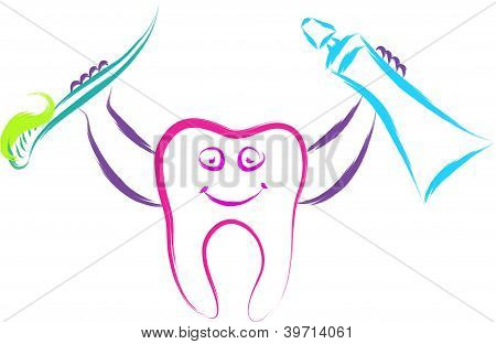 doodle happy tooth character vector illustration abstract poster