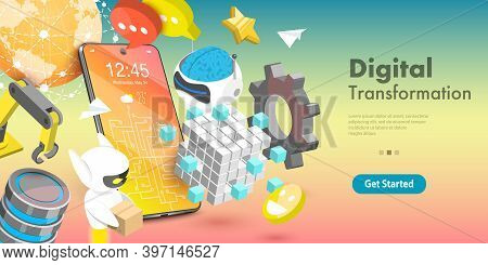 3d Vector Conceptual Illustration Of Digital Transformation
