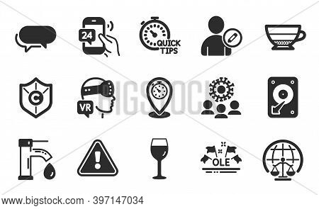 Hdd, Wine Glass And Quick Tips Icons Simple Set. Americano, Augmented Reality And Coronavirus Signs.