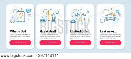 Set Of Finance Icons, Such As Income Money, Crown, Loyalty Ticket Symbols. Mobile Screen App Banners