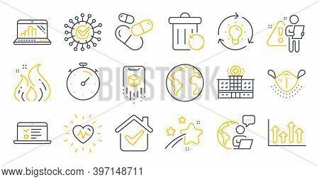 Set Of Science Icons, Such As Coronavirus, World Planet, Hospital Building Symbols. Capsule Pill, Ti