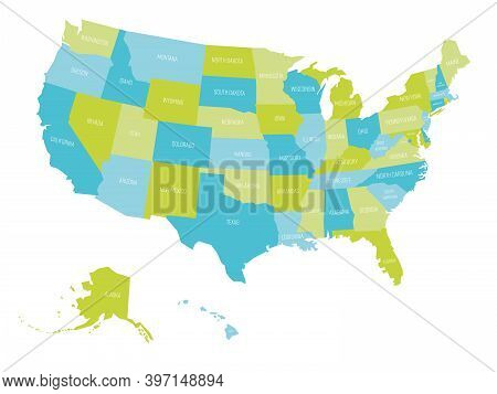 Map Of United States Of America, Usa, With State Names. Simple Flat Vector Illustration