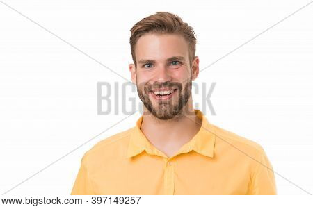 Fashion Portrait Of Young Man. Students Life Concept. Happy Guy Isolated On White. Got His First Job