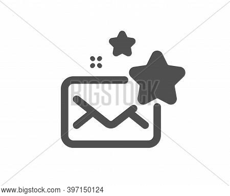 Favorite Mail Icon. Letter With Stars Sign. Best Email Symbol. Quality Design Element. Flat Style Fa