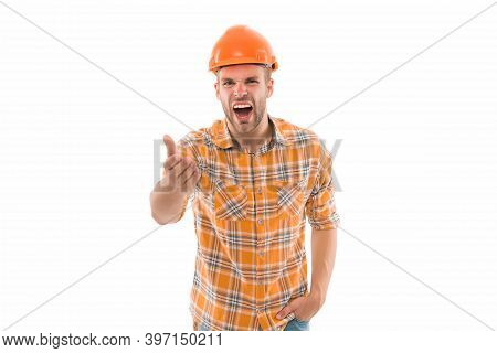 Man Shouting. Man Builder Hard Hat. Handyman At Workshop. Angry Aggressive Guy. Improvement And Reno