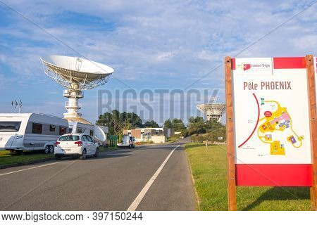 Cotes-d-armor, France - August 24, 2019: Space Telecommunications Antenna In Pole Phoenix Is Former