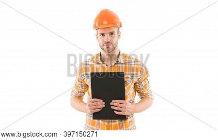 General Plan. Repair Service. Repair And Renovation Concept. Home Improvement. Man In Helmet On Whit