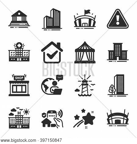 Set Of Buildings Icons, Such As Hospital Building, Buildings, Arena Symbols. Arena Stadium, Lighthou