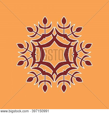 Snowflake Icon Vector Illustration. Winter Pattern With Cute Doodle Snowflakes. Color Vector Snowfla