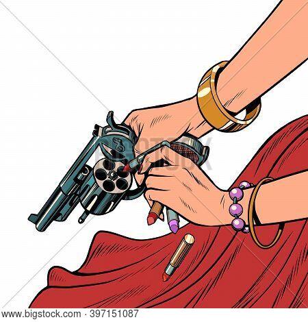 Beautiful Woman Killer With A Gun. Pop Art Retro Illustration Kitsch Vintage 50s 60s Style