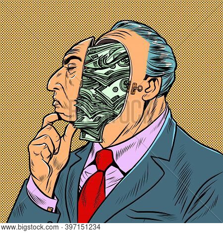 The Businessman Is Filled With Thoughts About Finances And Money. Pop Art Retro Illustration Kitsch