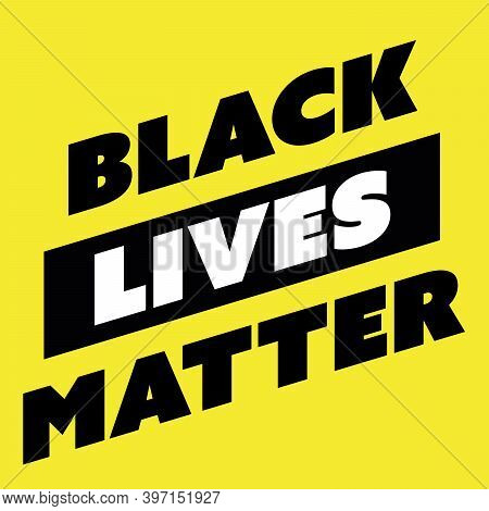 Square High Contrast Banner Of Blm, Black Lives Matter - Protest Movement Against Incidents Of Polic