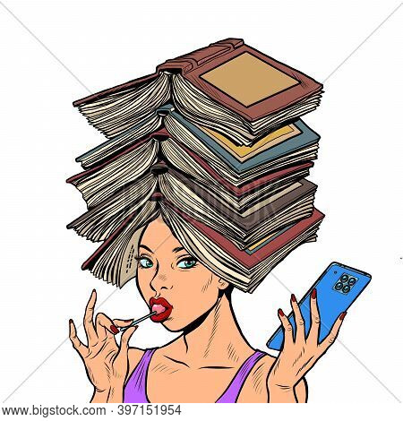 A Smart Well Read Woman With Books. Pop Art Retro Illustration Kitsch Vintage 50s 60s Style