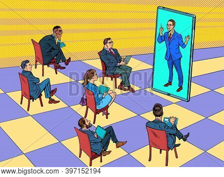 Remote Business Meeting Or A Presentation, Lecture, Training Through The Screen. Pop Art Retro Illus
