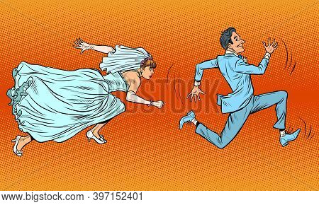 The Groom Runs Away From The Bride. A Comical Chase. Wedding Pop Art Retro Illustration Kitsch Vinta