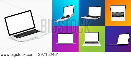 Different Angles Laptops And Colorful Backgrounds. Notebooks With Blank Screens. Mockup 3d Realistic