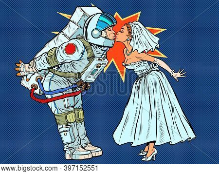 The Astronaut Groom And The Bride Kiss. Pop Art Retro Illustration Kitsch Vintage 50s 60s Style