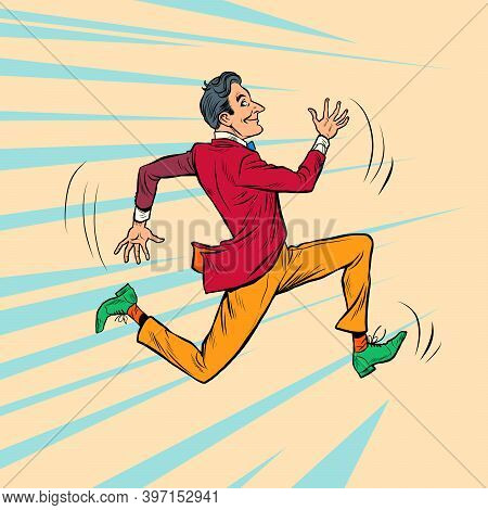 A Hipster Man In A Bright Stylish Suit Runs Fast. Pop Art Retro Illustration Kitsch Vintage 50s 60s