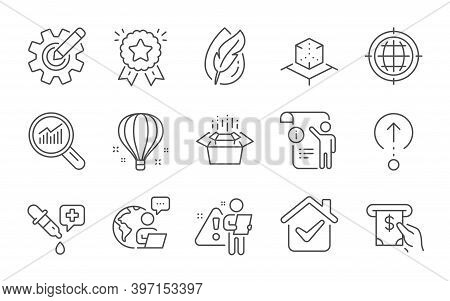 Cogwheel, Seo Internet And Atm Service Line Icons Set. Swipe Up, Manual Doc And Chemistry Pipette Si
