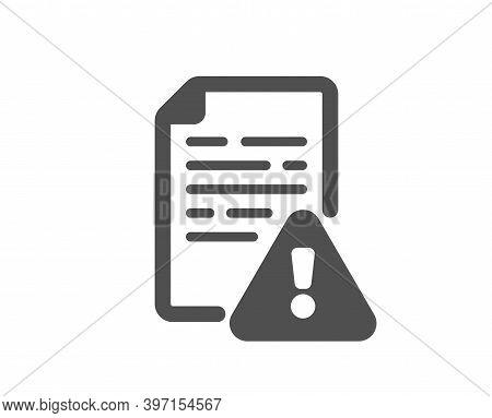 Instruction Manual Icon. Warning File Sign. Caution Alert Symbol. Quality Design Element. Flat Style