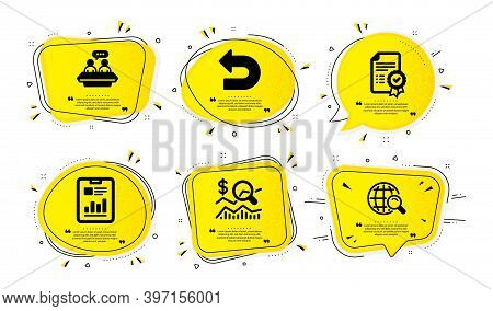 Report Document, Certificate And Undo Icons Simple Set. Yellow Speech Bubbles With Dotwork Effect. E