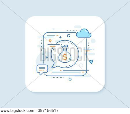 Money Bag Line Icon. Abstract Square Vector Button. Cash Banking Currency Sign. Dollar Or Usd Symbol