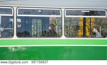Graz, Austria-october 14, 2020: People Traveling With The Tram Wearing Face Masks For Protection Dur