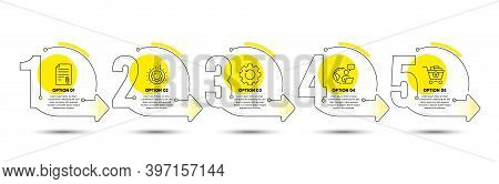 Attachment, Gear And Recovery Gear Line Icons Set. Timeline Process Infograph. Add Products Sign. At