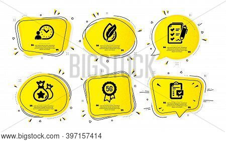 5g Technology, Survey Checklist And Hypoallergenic Tested Icons Simple Set. Yellow Speech Bubbles Wi