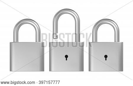Opened And Closed Lock. Realistic Silver Metal Padlock Vector Illustration.
