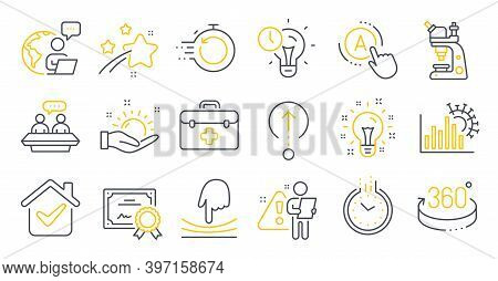 Set Of Science Icons, Such As First Aid, Fast Recovery, Time Management Symbols. 360 Degrees, Time,