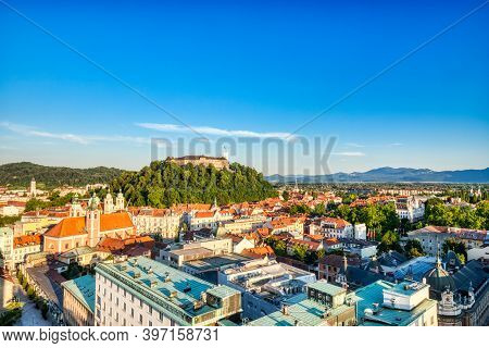 Ljubljana City Center Aerial View With Ljubljana Castle In The Background During A Sunny Day, Sloven
