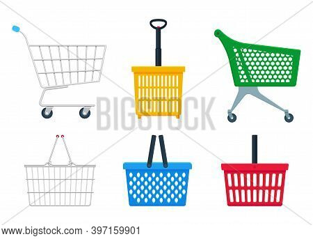 Vector Collection Of Flat Realistic Illustration Of Side View Empty Supermarket Shopping Basket Isol