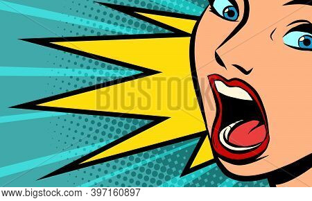 The Woman Screams. Emotions And Reactions. Comics Illustration Drawing