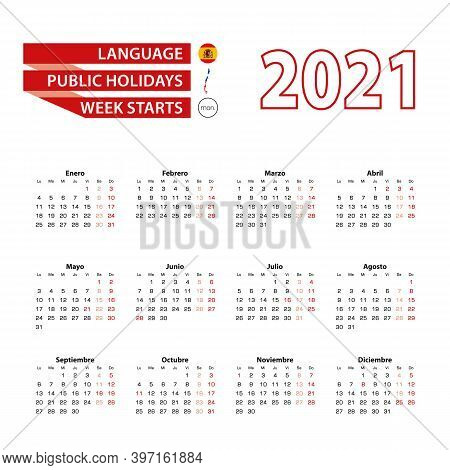 Calendar 2021 In Spanish Language With Public Holidays The Country Of Chile In Year 2021. Week Start