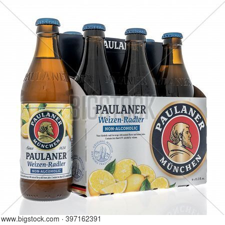Winneconne, Wi -26 November 2020:  A Six Pack Of Pualaner Weisen Radler Non Alcoholic Beer On An Iso