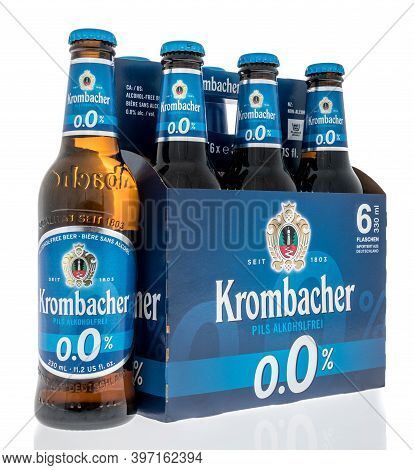 Winneconne, Wi -26 November 2020:  A Six Pack Of Kormbacher Non Alcoholic Beer On An Isolated Backgr