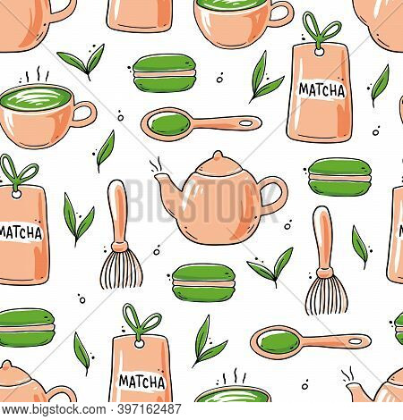 Seamless Pattern Of Hand Drawn Matcha Tea Ingredient And Traditional Ceremony Elements, Cup, Spoon,