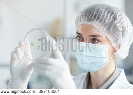 Close Up Portrait Of Young Female Scientist Holding Petri Dish While Studying Plant Samples In Biote