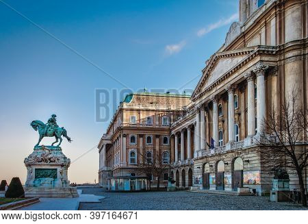 Budapest, Hungary, March 2020, View Of Buda Castle And The Statue Of Prince Eugene Of Savoy