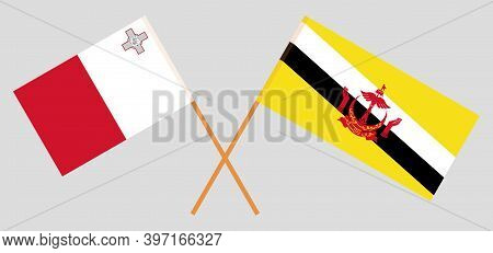 Crossed Flags Of Brunei And Malta. Official Colors. Correct Proportion. Vector Illustration